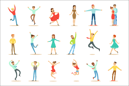 People Overwhelmed Of Happiness And Joyfully Ecstatic Set Of Happy Smiling Cartoon Characters. Man And Women Excited And Blissful With Positive Emotions Vector Illustrations.