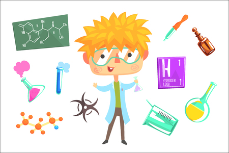 Boy Chemist, Kids Future Dream Professional Occupation Illustration With Related To Profession Objects. Smiling Child Carton Character With Career Attributes Around Cute Vector Drawing.
