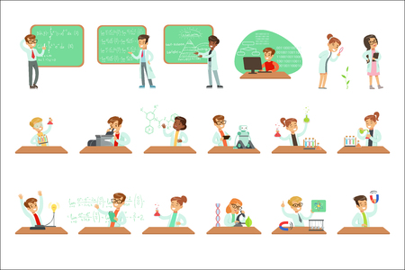Kids In Lab Coats Doing Science Research Dreaming Of Becoming Professional Scientists In The Future Set Of Cartoon Characters. Collection Of Smiling Children Working As Physicists, Chemists And In Other Scientific Fields, Doing Experiments.