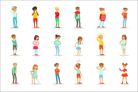 Sick Children Feeling Unwell Suffering From Sickness Or Injury Needing Healthcare Medical Help Set Of Cartoon Characters. Kids With Health Damage Or Illness Showing The Symptoms Vector Illustrations. Stockfoto - 111890003