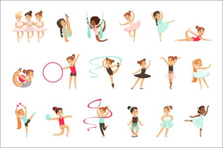 Petites filles faisant des exercices de gymnastique et d'acrobatie en classe Ensemble de futurs professionnels du sport. Petits enfants heureux et leurs adorables illustrations vectorielles de performance. Vecteurs