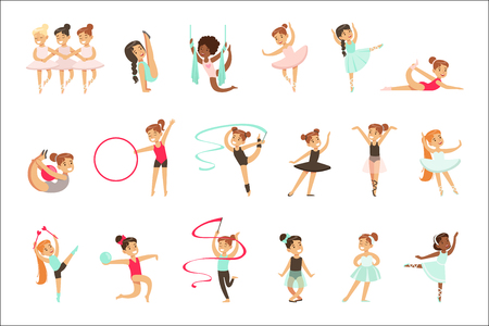 Little Girls Doing Gymnastics And Acrobatics Exercises In Class Set Of Future Sports Professionals. Small Happy Kids And Their Adorable Performance Vector Illustrations.