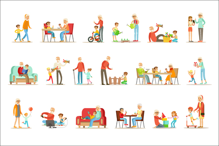 Grandfather And Grandmother Spending Time Playing With Grandchildren, Small Boys And Girls With Their Grandparents Vector Collection. Different Generations Of Family Enjoying Time Together Set Of Illustrations. 일러스트