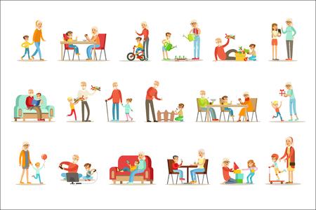 Nonno e nonna trascorrono del tempo a giocare con nipoti, piccoli ragazzi e ragazze con la loro raccolta vettoriale di nonni. Diverse generazioni di famiglie che godono insieme del tempo insieme delle illustrazioni. Vettoriali