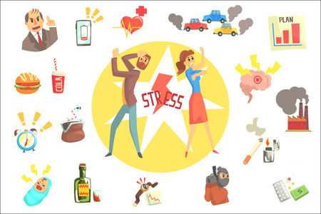 Stressed Man And Woman Surrounded With Different Stress Factors External And Lifestyle Related. Stressful Situations And Causes Attacking People In Every Day Life Vector Illustration. Illustration
