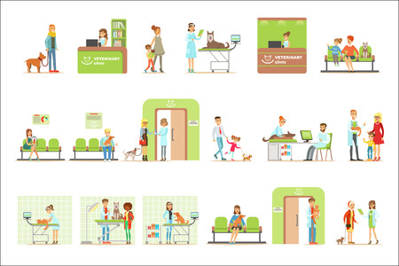 Smiling Cartoon Characters Bringing Their Pets For Vet Examination In Veterinary Clinic Collection Of Illustrations. Happy Pet Owners And Veterinary Specialists Attending Their Animals In Medical Office. Ilustracje wektorowe