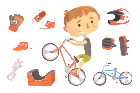 Boy BMX Bike Rider, Kids Future Dream Professional Occupation Illustration With Related To Profession Objects. Smiling Child Carton Character With Career Attributes Around Cute Vector Drawing.