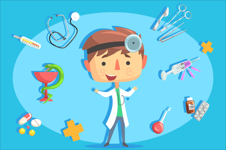 Boy Doctor, Kids Future Dream Professional Occupation Illustration With Related To Profession Objects. Smiling Child Carton Character With Career Attributes Around Cute Vector Drawing.  イラスト・ベクター素材