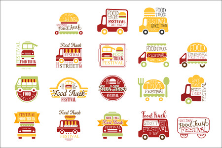 Food Truck Cafe Street Food Promo Signs Collection Of Colorful Vector Design Templates With Vehicle Silhouette. Fast Food Restaurant On Wheels Labels In Flat Bright Illustrations With Text.