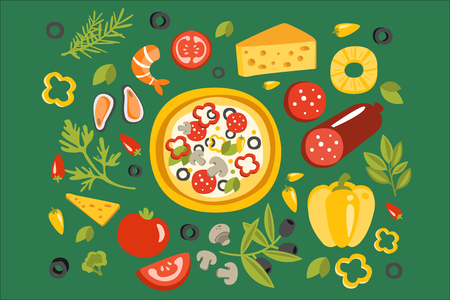 Pizza Surrounded With Different Ingredients For It, Italian Cuisine Dish Preparation And Cooking Illustration. Separated Flat Vector Details Of Fast Food Or Cafe Traditional Meal Set Of Objects.