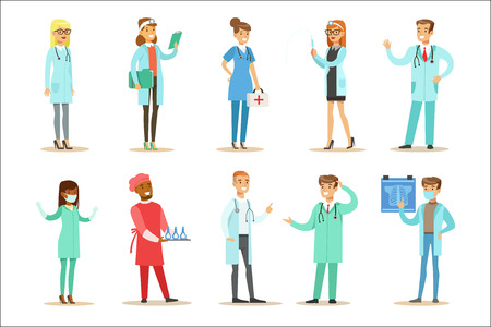 Doctors With Different Specializations Wearing Medical Scrubs Uniform Working In The Hospital Set Of Healthcare Specialists. Surgeon, Pediatrician And General Practice Therapists Smiling Cartoon Vector Characters.