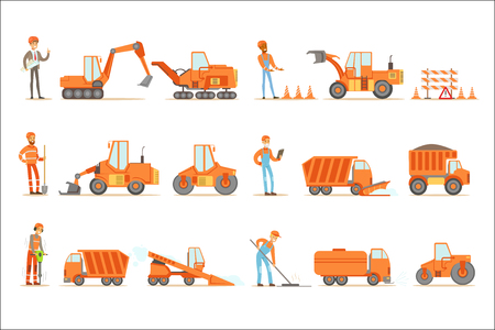 Smiling Road Construction And Repair Workers In Uniform And Heavy Trucks At Construction Site Set Of Cartoon Illustrations. Manual Laborers Working Outdoor In Road Building And Fixing Collection Of Drawings. Illustration