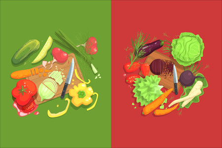 Still Life With Cooking Ingredients For Fresh Vegetarian Salad With Raw And Fresh Vegetables Places Around Cutting Board Illustration. Beetroot, Cabbage, Carrot, Eggplant And Other Products Of Healthy