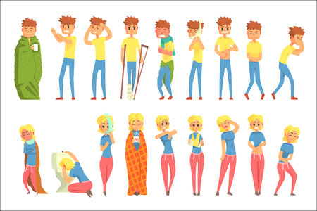 Adult People Feeling Unwell, Sick Suffering From Illness And Injury, Set Of Men And Women Cartoon Characters. Cartoon Characters Unhealthy With Different Sicknesses In Need Of Medical Treatment.