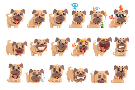 Little Pet Pug Dog Puppy With Collar Set Of Emoji Facial Expressions And Activities Cartoon Illustrations. Cute Small Animal Emoticons In Stylized Geometric Vector Design. Stockfoto - 111890017