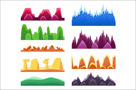Alien Mountains And Colorful Desert Landscaping Seamless Background Patterns For 2D Platformer Game Design. Set Of Templates For Landscape Creation In Bright Colors Flat Vector Elements. Illustration