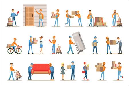 Clienti e lavoratori del servizio di consegna diversi, corrieri sorridenti che consegnano pacchi e traslochi portando mobili insieme delle illustrazioni. Personaggi dei cartoni animati di vettore in uniforme che trasportano scatole di cartone con un sorriso.