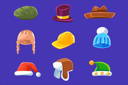Different Types Of Hats And Caps, Warm And Classy For Kids And Adults Set Of Cartoon Colorful Vector Clothing Items. Winter And Autumn Male Headpieces In Childish Bright Colors Collection Of Illustrations. Ilustrace