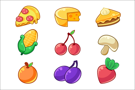 Food Items Outlined Childish Stickers Set For Flash Game Design Including Fruits , Berries And Pizza. Eatable Isolated Elements Of Farming Game Of Children Cartoon Vector Illustration.