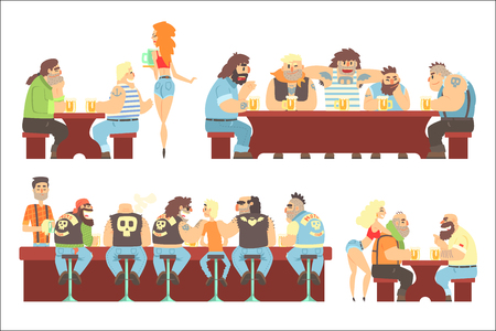 Dark Bar With Criminal Looking Bikers And Sailor Clients And Slutty Waitresses Serving Beers Illustration