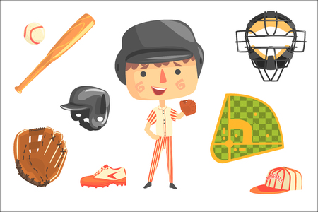 Boy Baseball Player,Kids Future Dream Professional Occupation Illustration With Related To Profession Objects. Smiling Child Carton Character With Career Attributes Around Cute Vector Drawing.