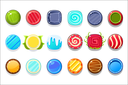 Colorful Candy Flash Game Element Templates Design Set With Colorful Round Sweets For Three In The Row Type Of Video Game. Glossy Bright Color Details For Gaming Constructor Purposes Vector Collection OF Icons.