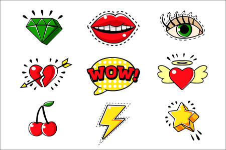 Pop Art Classic Bright Design Elements For Clothing Print And Stickers Set Of Cartoon Icons