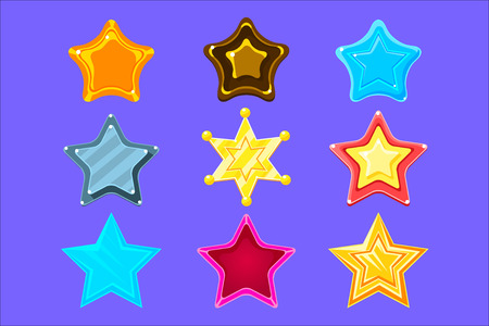 Fünf-Punkte-bunte Cartoon-Stern-Sammlung für Flash-Videospiel-Belohnungen, Boni und Aufkleber. Helle Farbe glänzend Pentagramm Formen isolierte Vektor-Icons.