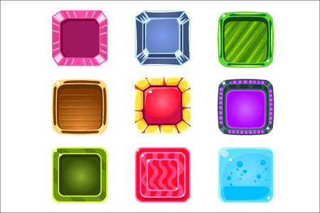 Colorful Gems Flash Game Element Templates Design Set With Colorful Square Candy For Three In The Row Type Of Video Game. Glossy Bright Color Details For Gaming Constructor Purposes Vector Collection OF Icons. Illustration