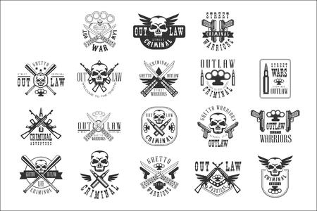 Criminal Outlaw Street Club Schwarzweiss-Zeichen-Entwurfsvorlagen mit Text- und Waffensilhouetten Vektorgrafik
