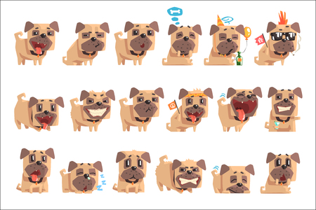 Little Pet Pug Dog Puppy With Collar Set Of Emoji Facial Expressions And Activities Cartoon Illustrations. Cute Small Animal Emoticons In Stylized Geometric Vector Design.