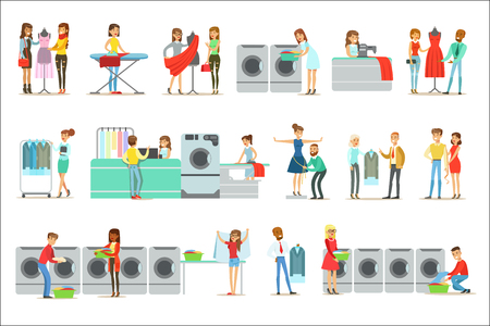 People At The Laundry, Dry Cleaning And Tailoring Service Set Of Smiling Cartoon Characters. Men And Woman Washing Their Clothes In Washing Machines And Using Designer Help Vector Illustrations.