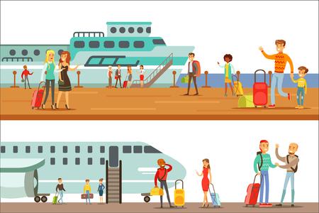 Personnes souriantes à bord de différents transports, métro, avion et navire ensemble de scènes de dessin animé avec des voyageurs heureux