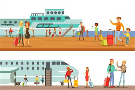 Smiling People Boarding Different Transport, Metro, Plane And Ship Set Of Cartoon Scenes With Happy Travelers Иллюстрация