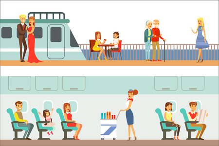 Smiling People Taking Different Transport, Metro, Plane And Ship Set Of Cartoon Scenes With Happy Travelers. Men And Women Travelling With Public Transportation Collection Of Vector Illustrations. Illustration
