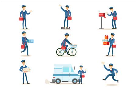 Cartero en uniforme azul con bolsa roja entregando correo y otros paquetes, cumpliendo con los deberes del cartero con una sonrisa conjunto de ilustraciones.