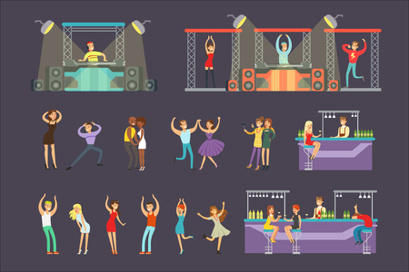 Young Smiling People Dancing In Night Club And Drinking In The Bar With DJ Playing Music Cartoon Vector Illustration. Men And Women Having Good Time At The Party On A Dancefloor Drawing Illustration