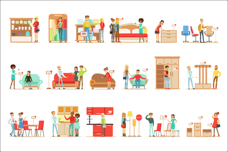 Smiling Shoppers In Furniture Store, Shopping For House Decor Elements With Help Od Professional Department Store Sellers. Set Of Scenes With People Selling Home Design Items To Clients OF The Mall Vector Illustrations. Ilustração Vetorial