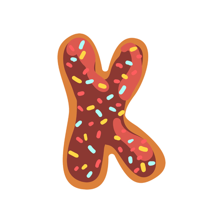 K letter in the shape of sweet glazed cookie, bakery edible font of English alphabet vector Illustration isolated on a white background.