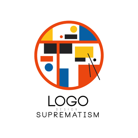 Suprematism, modern geometric design element can be used for brand identity, advertising, poster, banner, flyer, web, app vector Illustration on a white background