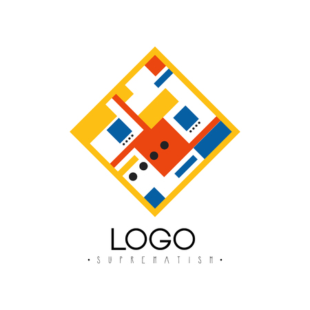 Suprematism, abstract geometric design element for brand identity, advertising, poster, banner, flyer, web, app vector Illustration on a white background