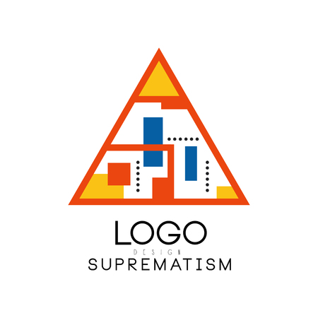 Suprematism  design, abstract creative geometric template for brand identity, advertising, poster, banner, flyer, web, app vector Illustration on a white background Иллюстрация