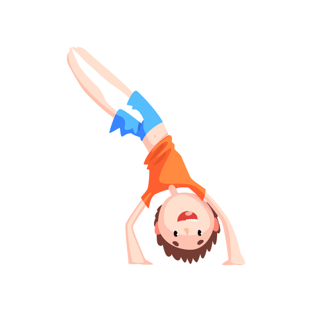 Boy standing on his hands practicing capoeira movement, kid character doing combat element of martial art, capoeira dancer pose vector Illustration isolated on a white background.