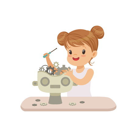 Lovely little gill creating smart robot, robotics and programming for kids, futuristic artificial intelligence vector Illustration isolated on a white background.