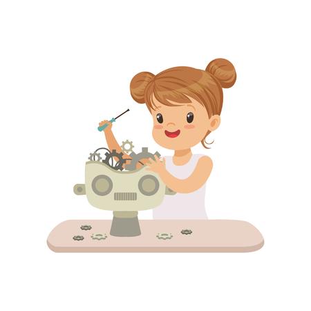 Mooie kleine kieuw maken slimme robot, robotica en programmeren voor kinderen, futuristische kunstmatige intelligentie vector illustratie geïsoleerd op een witte achtergrond. Vector Illustratie