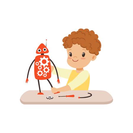 Niño creando robot inteligente, robótica y programación para niños, vector de concepto de proyecto educativo ilustración aislada sobre fondo blanco.