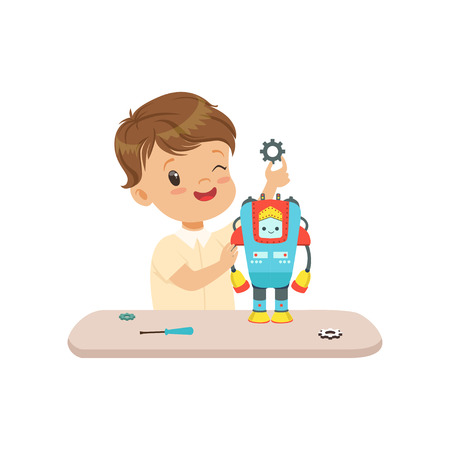 Little boy building a robot, robotics and programming for kids, educational project concept vector Illustration isolated on a white background. Иллюстрация