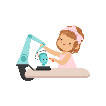 Cute little girl building a robot, robotics and programming for kids, educational project concept vector Illustration isolated on a white background. Vektorové ilustrace