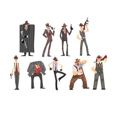 Jeu de gangster, personnages criminels en chapeau fedora avec vecteur de pistolet Illustrations sur fond blanc Vecteurs