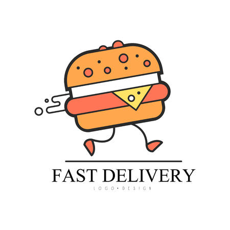 Fast delivery  design, food service delivery, creative template with running burger for corporate identity, fast food restaurant or cafe vector Illustration on a white background  イラスト・ベクター素材